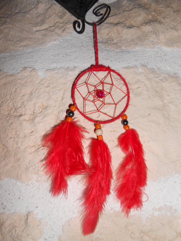 Attrape Rêves / Dreamcatcher fait main rouge