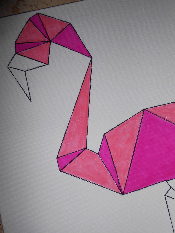 Cadre Flamant Rose façon Origami