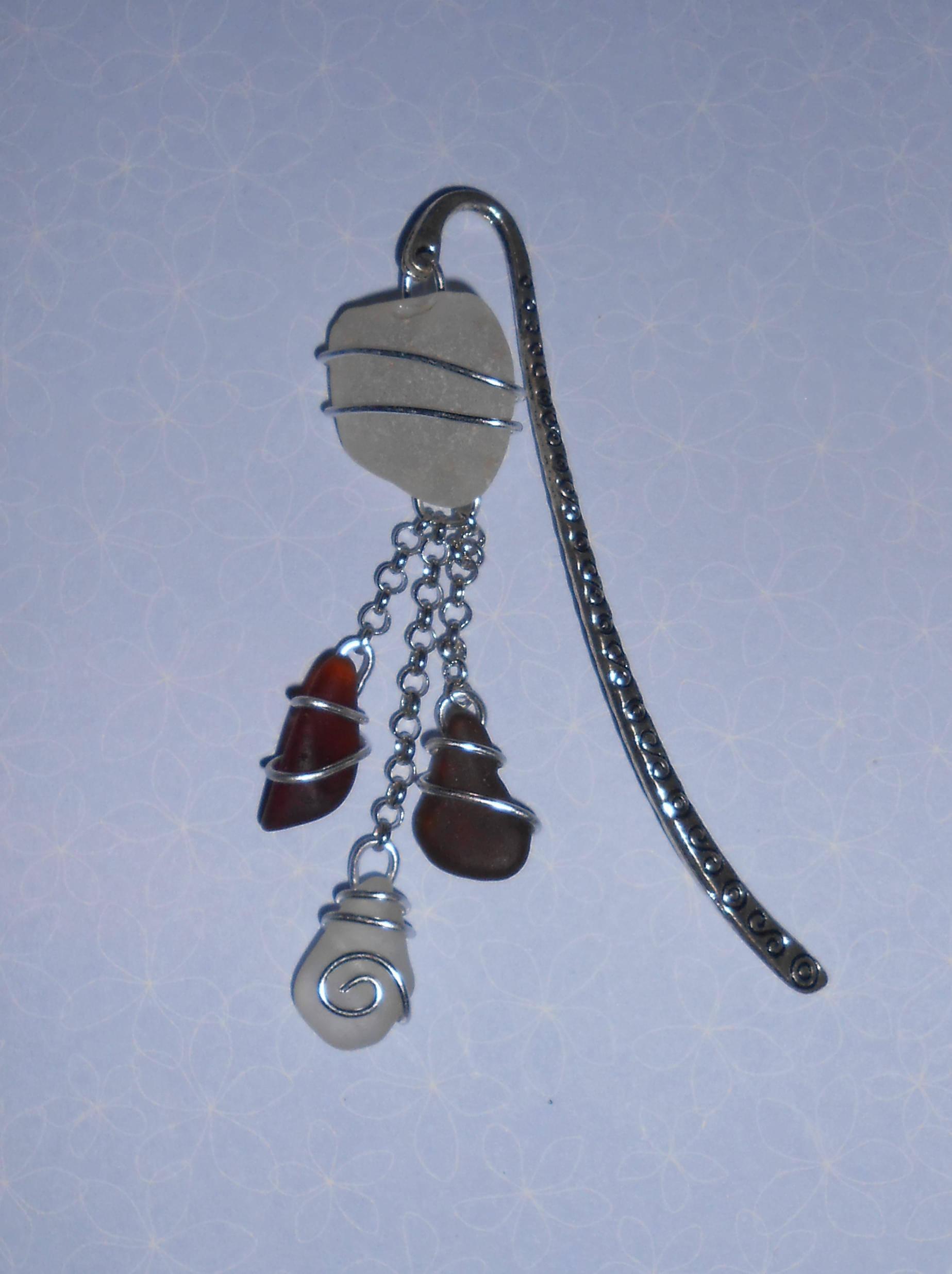 Marque-Page bijoux en verre poli par la mer 1