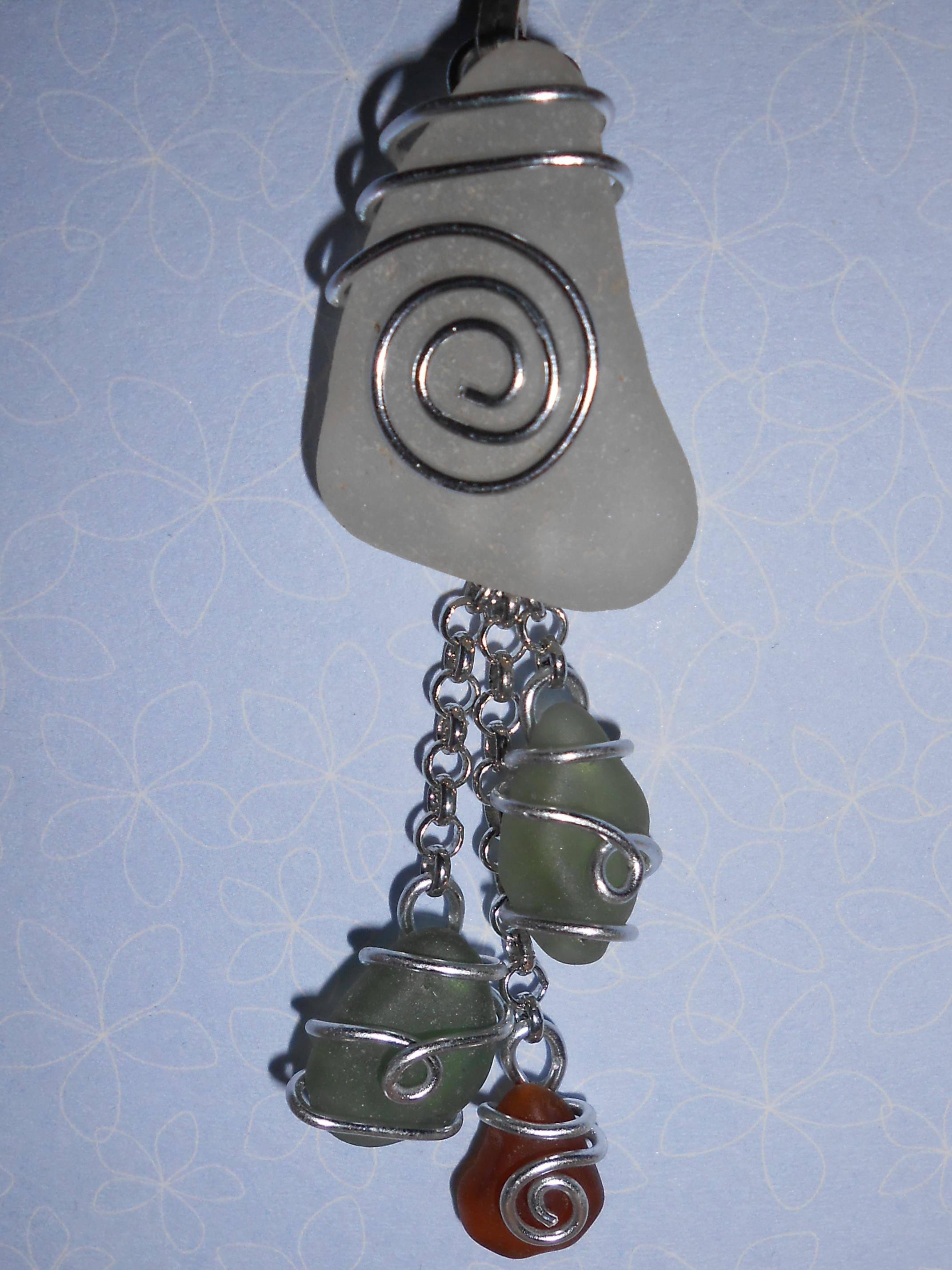 Marque-Page bijoux en verre poli par la mer 2