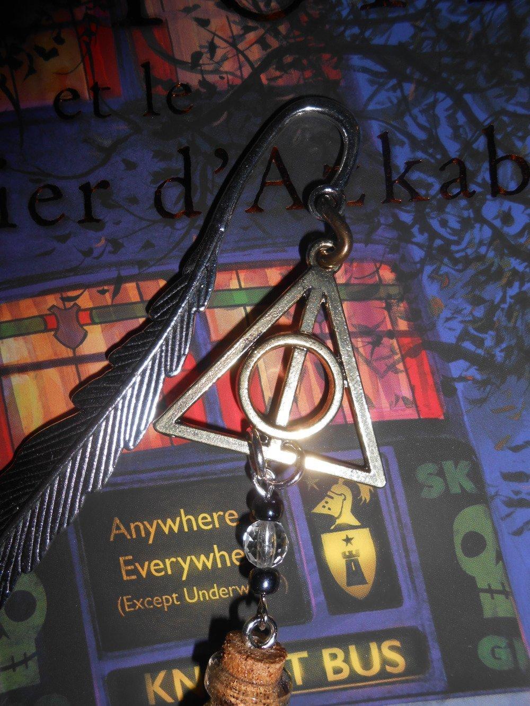 """Marque Page d'inspiration Harry Potter avec Reliques de la Mort et Fiole """"poudre de cheminette"""""""