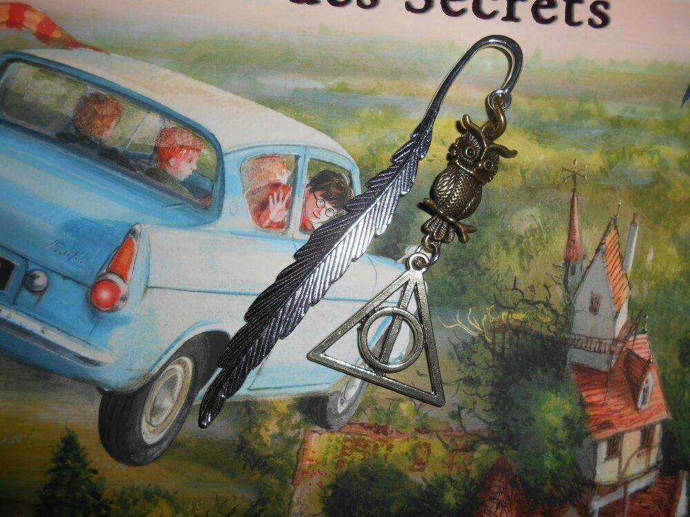 Marque Page d'inspiration Harry Potter avec Chouette/Hibou et Reliques de la Mort
