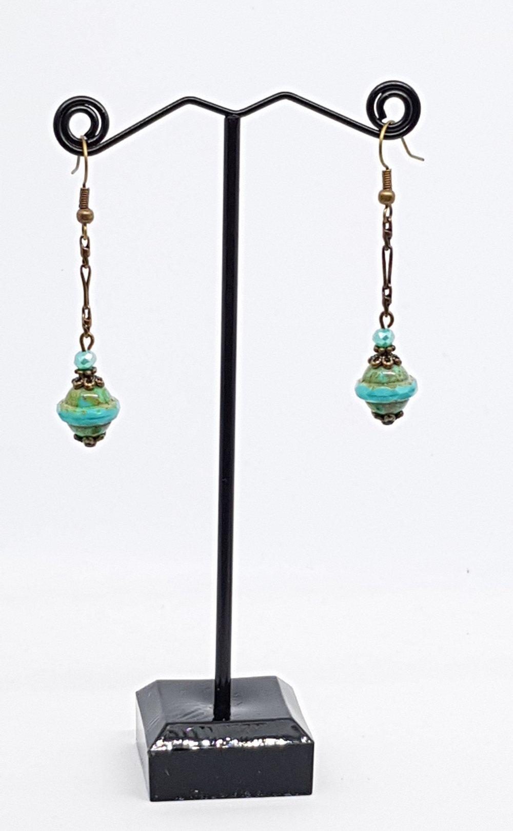 Boucles d'oreilles pendantes, vertes