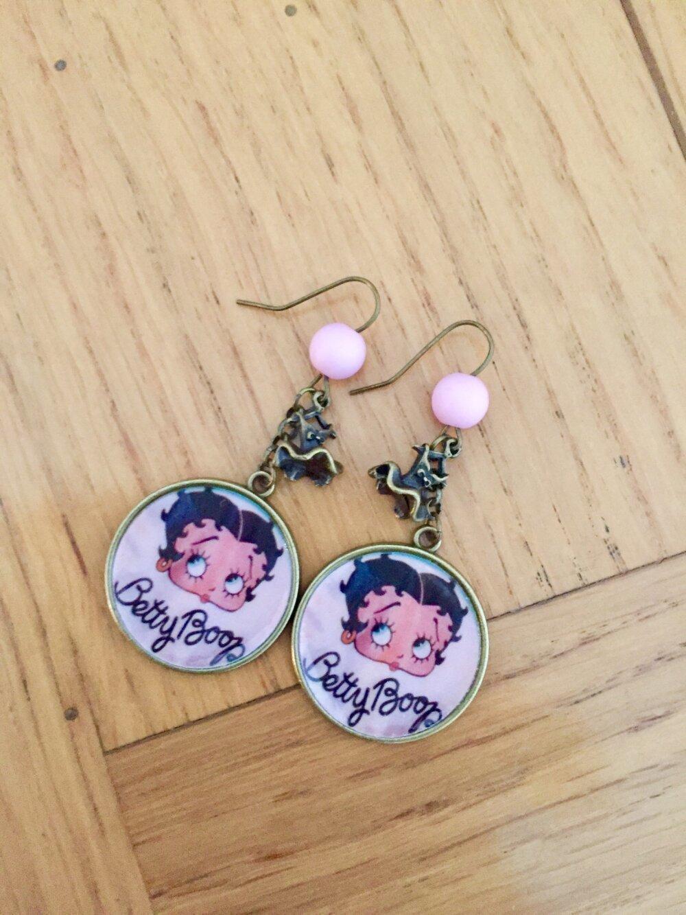 Boucles d'oreilles Betty Boop pinup vintage