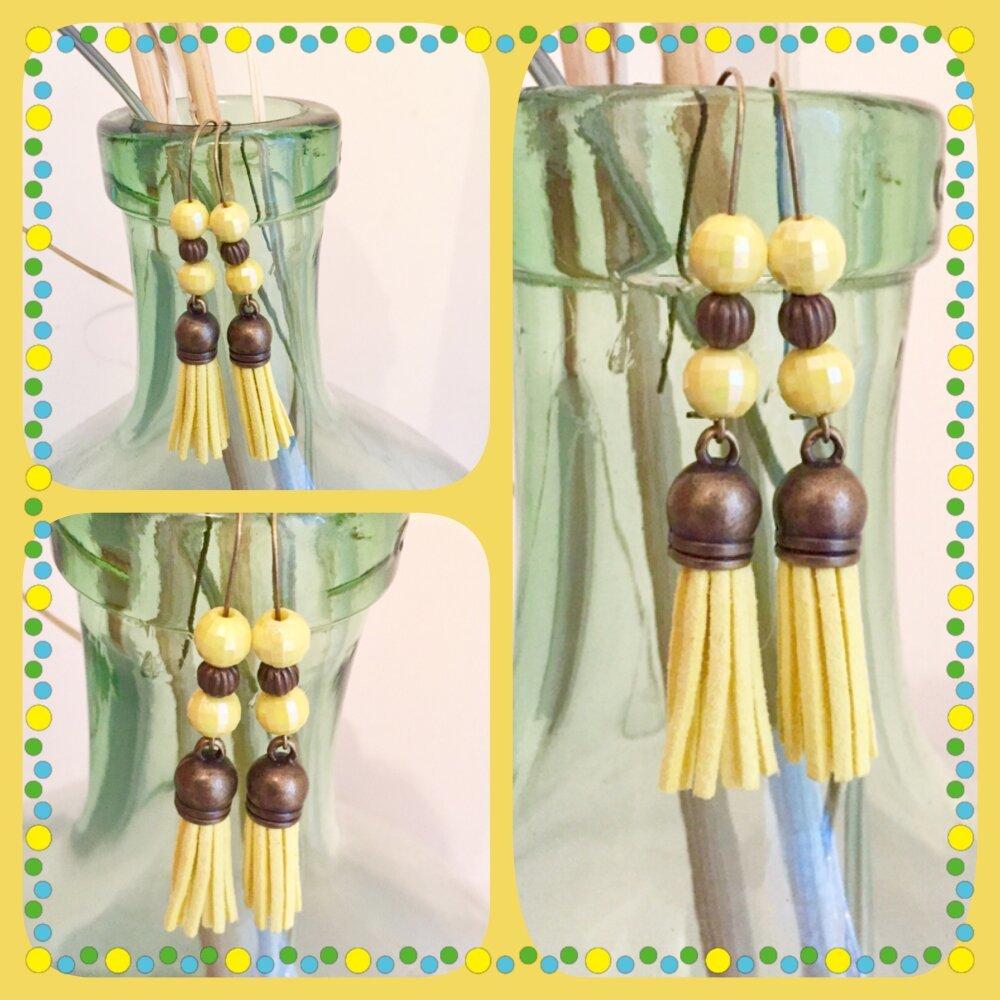 Boucles d'oreilles Pompons jaunes soleil