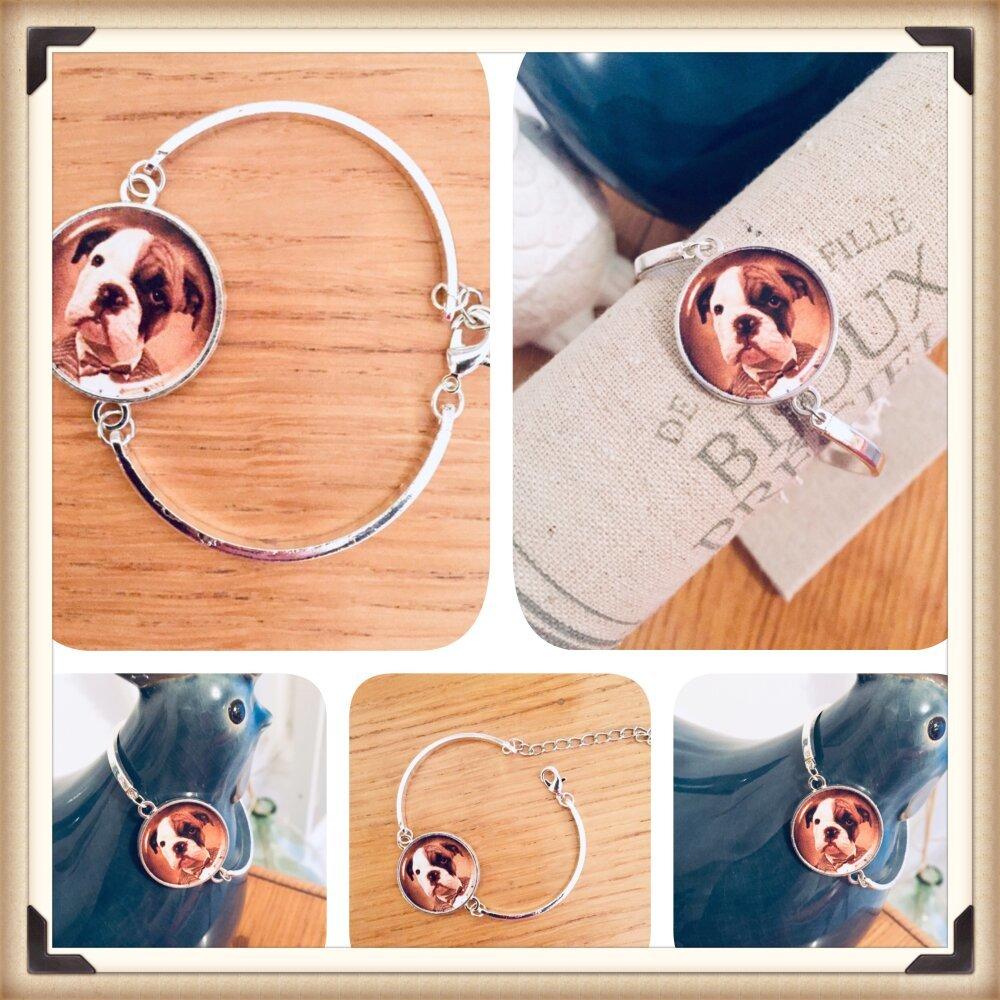 Bracelet fin et classe Bouledogue chien carlin