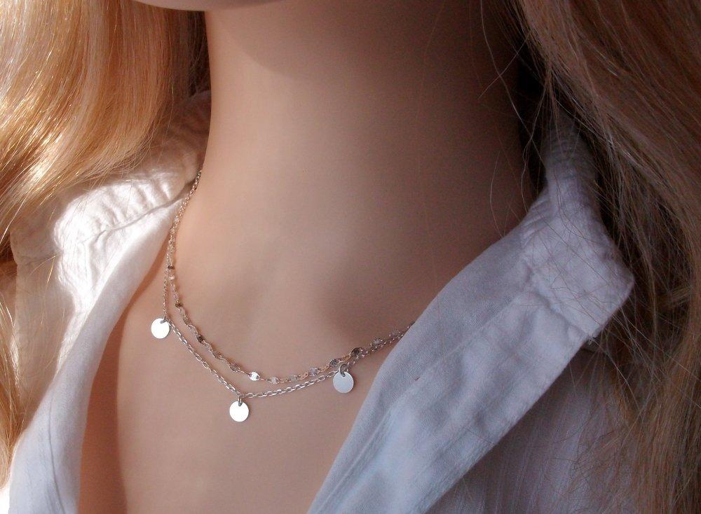 Lot de 2 colliers en argent - à superposer - Ras de cou chaine fantaisie - collier petites médailles