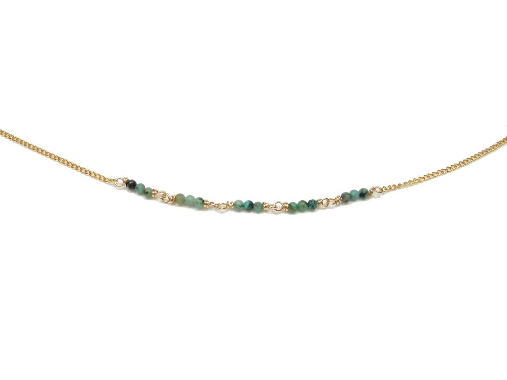 Collier fin - Pierres naturelles - Turquoise africaine - Collier chaine or - Ras de cou petites perles