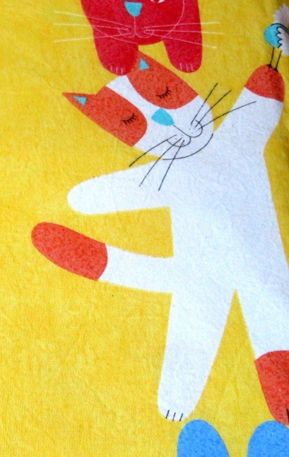 TISSU EN COTON CHAT roux bleu blanc SUR FOND JAUNE enfant 150 X 45 CM