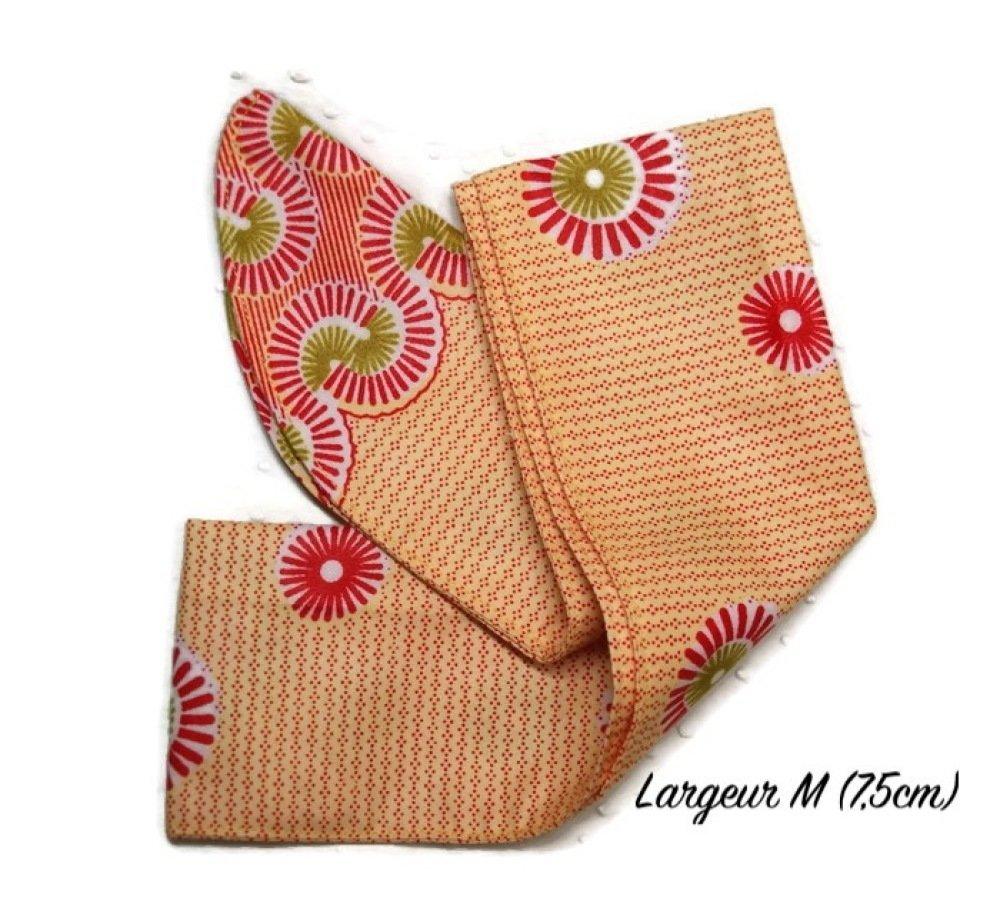 Bandeau / turban / headband pour cheveux en Wax orangé/rouge/blanc - Largeur M