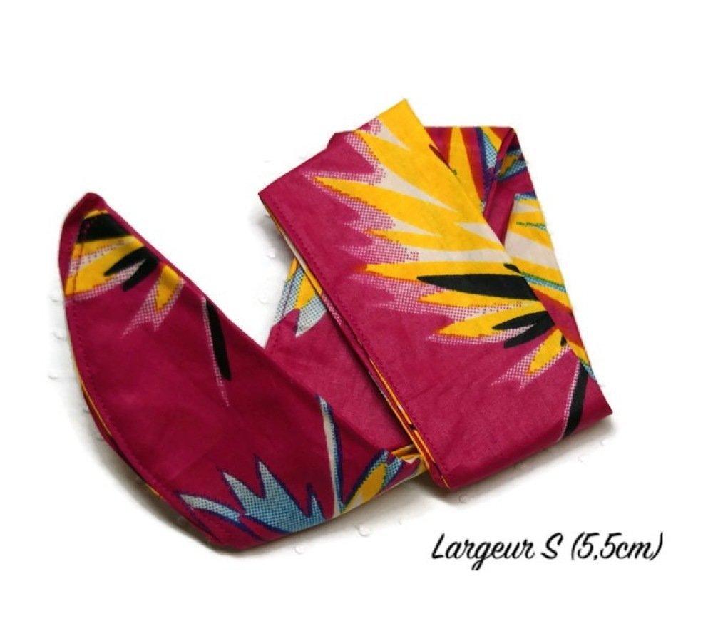 Bandeau / turban / headband pour cheveux en Wax fuchsia/jaune/bleu - Largeur S