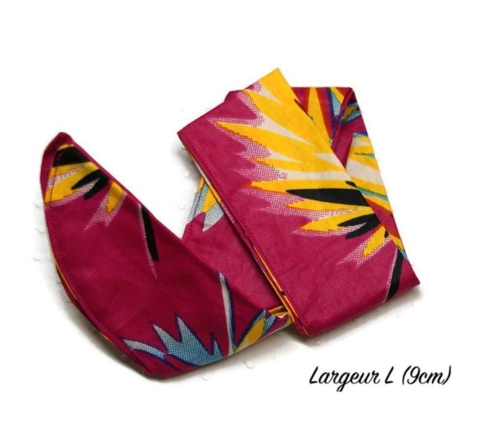 Bandeau / turban / headband pour cheveux en Wax fuchsia/jaune/bleu - Largeur L