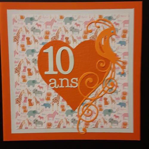 Carte Scrapbooking Unique Pour Un Anniversaire Fillette 10 Ans 100 Fait Main Un Grand Marche