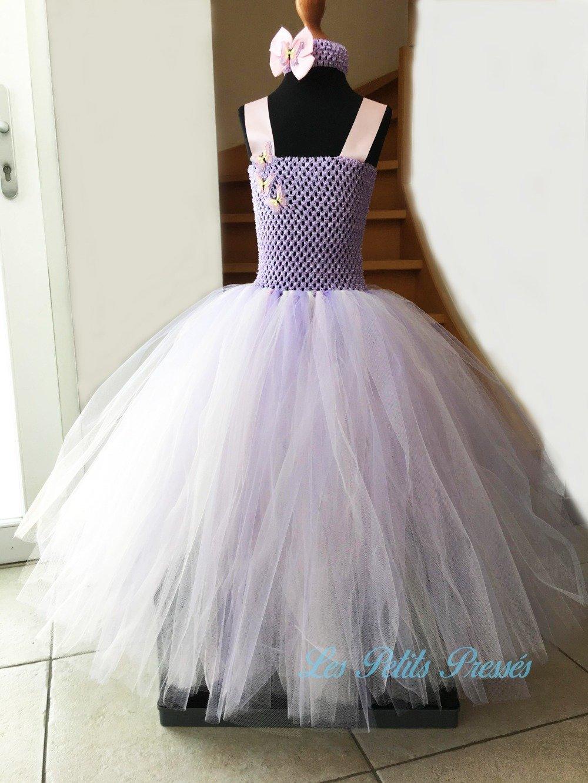 """Robe de cérémonie en tulle  de couleur arc-en-ciel pastel - modèle """"Papillons"""" - taille 7/8 ans"""