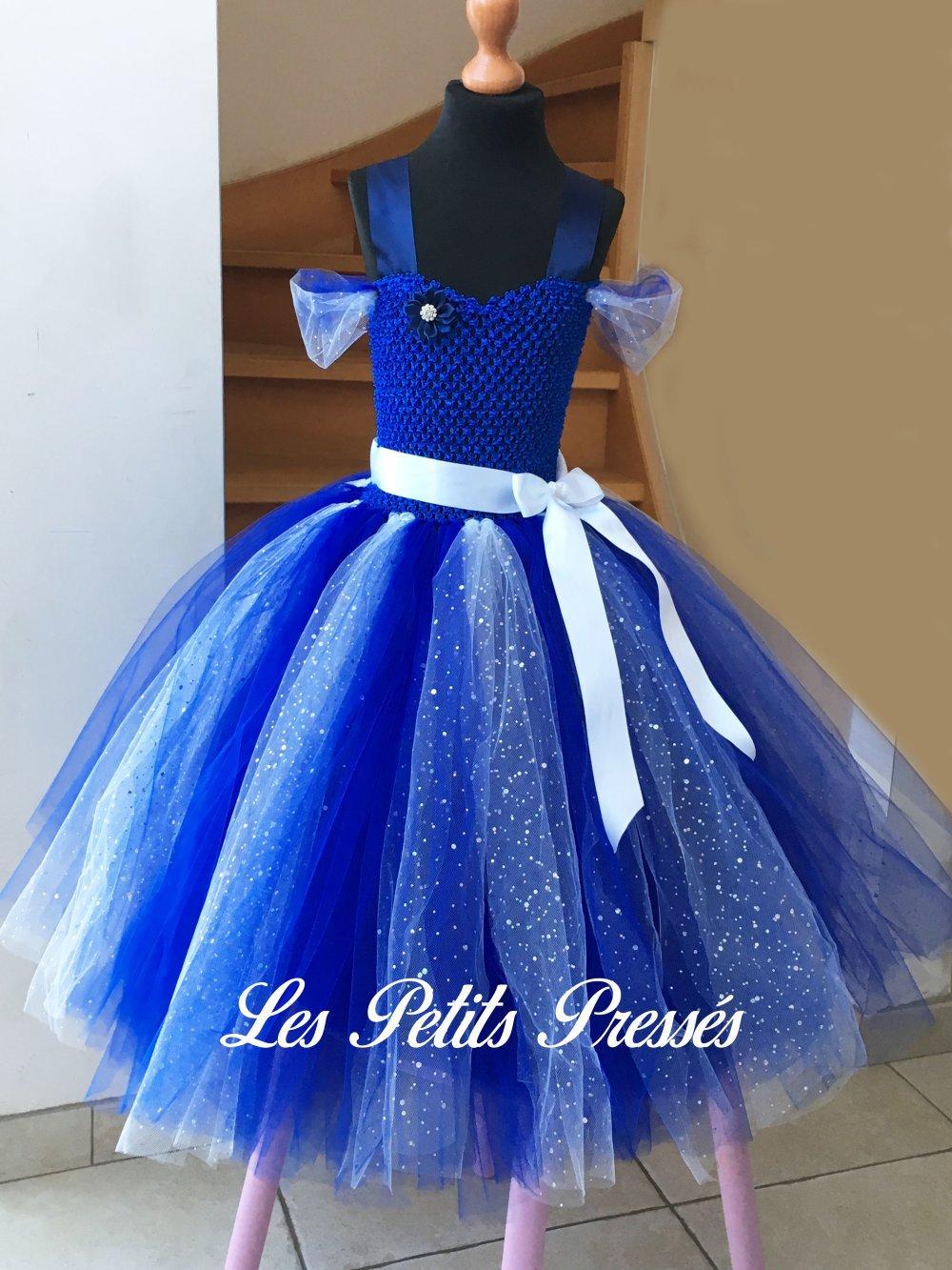 Robe de cérémonie en tulle bleu et blanc à paillettes - taille 9/10 ans