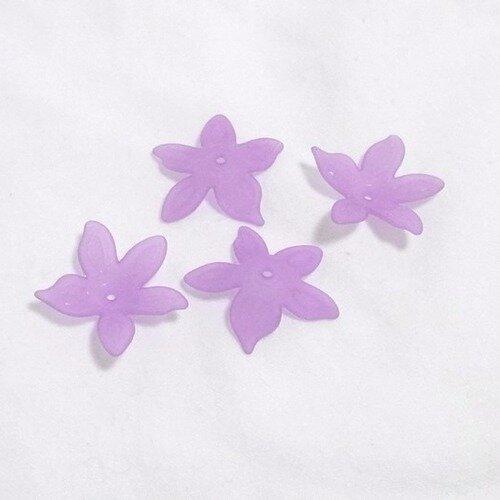 Lot de 4 fleurs lucite 30 mm  coloris parme