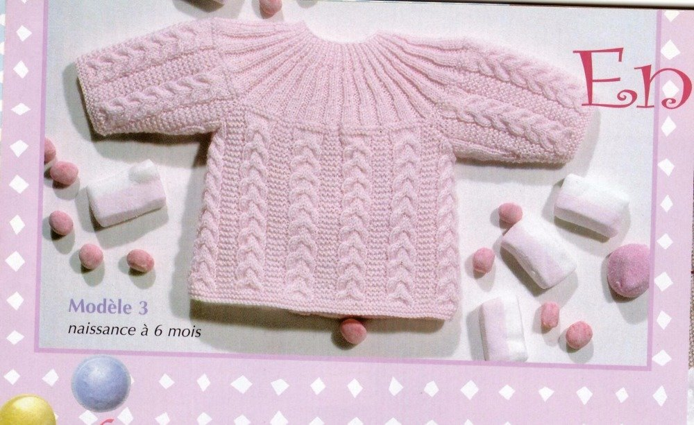 fiche explicative brassière bébé torsades au tricot
