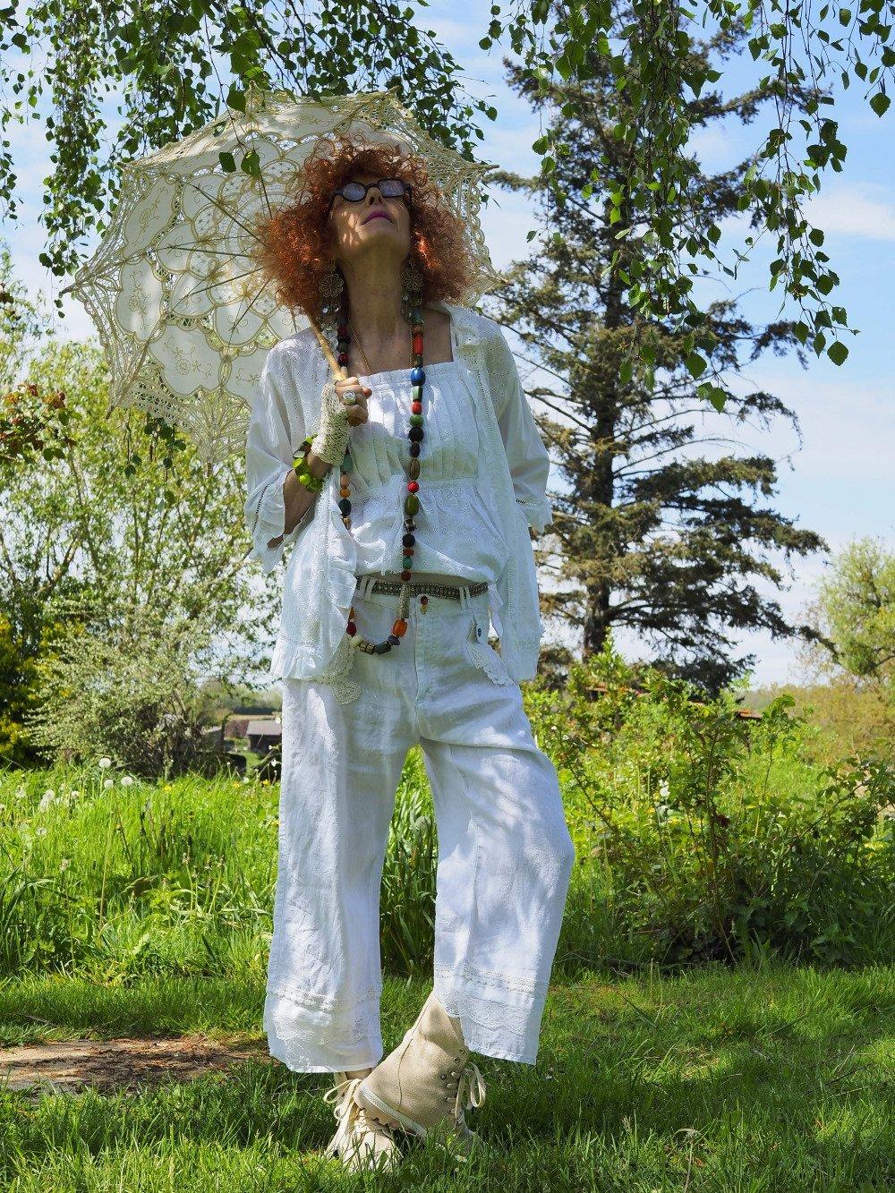 Ensemble trois pièces dentelle anglaise mode sabby chic Veste top court pantalon en lin coton dentelle style bohème vintage