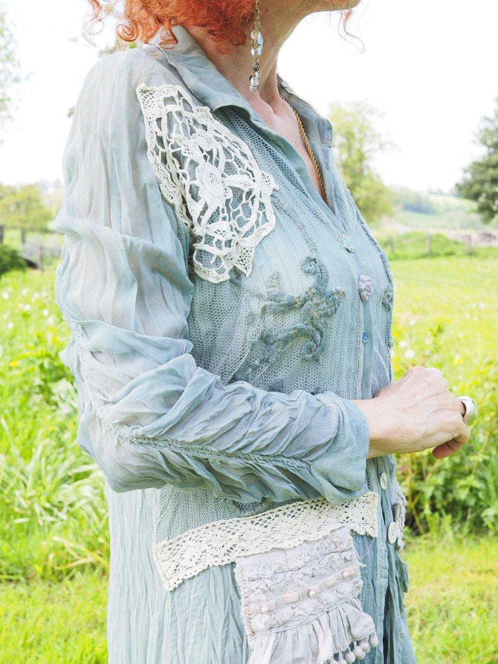 tunique bohème avec perles dentelle et crochet veste longue brodée coton soie stylée vintage shabby