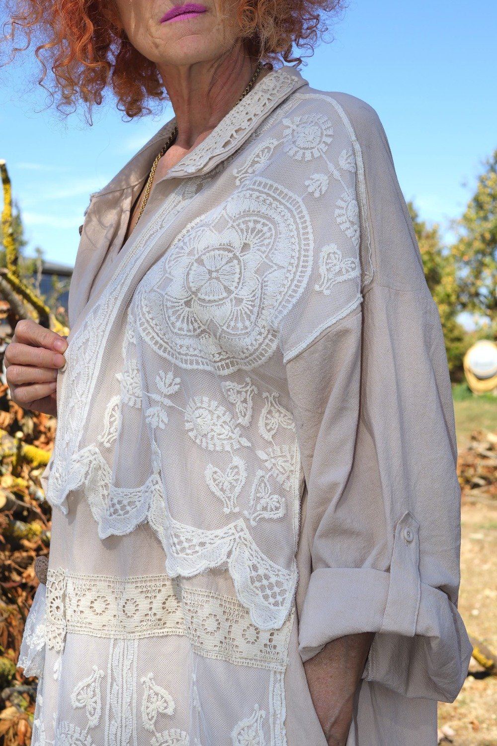 Robe Lin Personnalise Boheme Robe Grande Taille En Tulle Brodee Robe Manteau Superposition Dentelle Style Shabby Chic Un Grand Marche