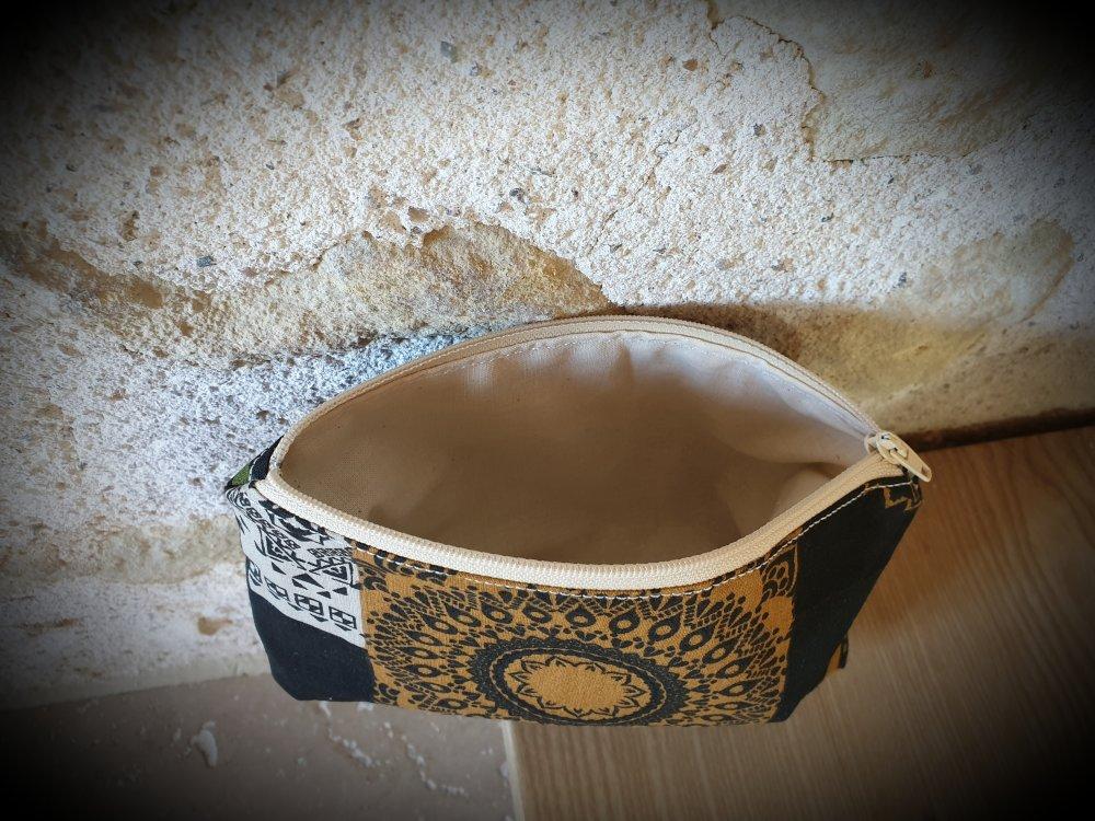 Pochette tissu, impression aztèque