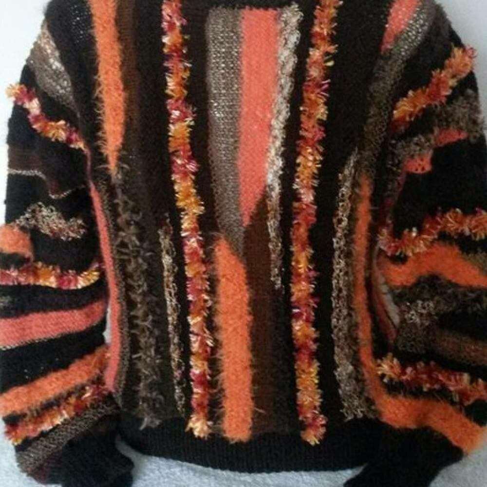 Magnifique pull MARRON/ORANGE