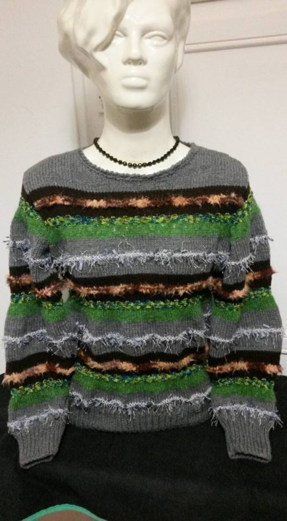 """Magnifique Pull style """" anny blat ' GRIS/VERT"""