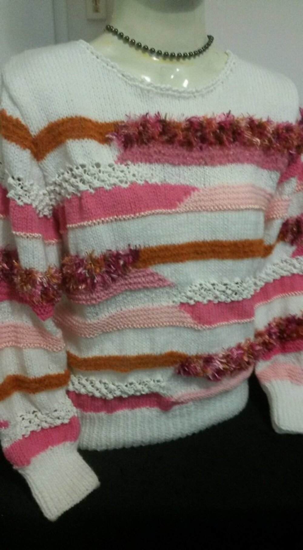 """Magnifique Pull style """" anny blat ' BLANC/ROSE/ROUX"""
