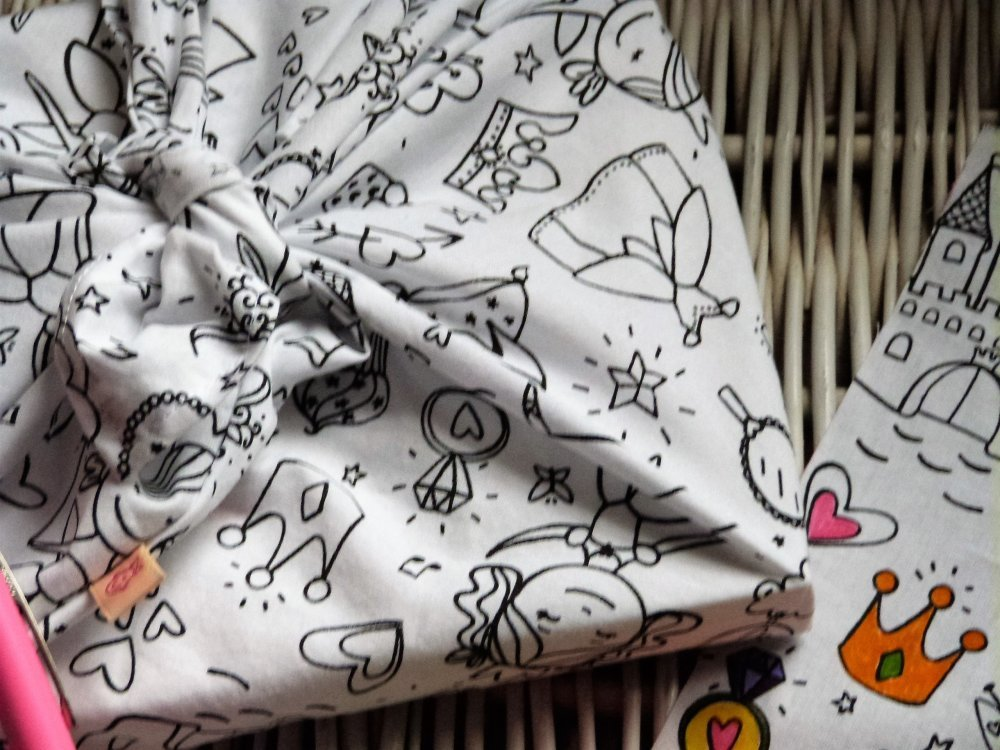 """Emballage cadeau,Sac bento, Sac à goûter, Sac à jouets zéro déchet...à colorier """" Fairy """"."""