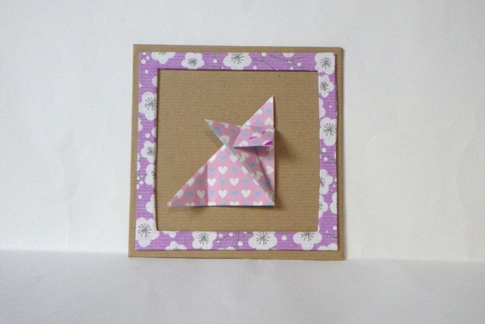 cadre origami - renard rose