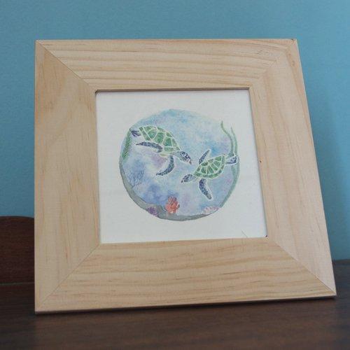 Illustration aquarelle (petite) - duo marin - tortues