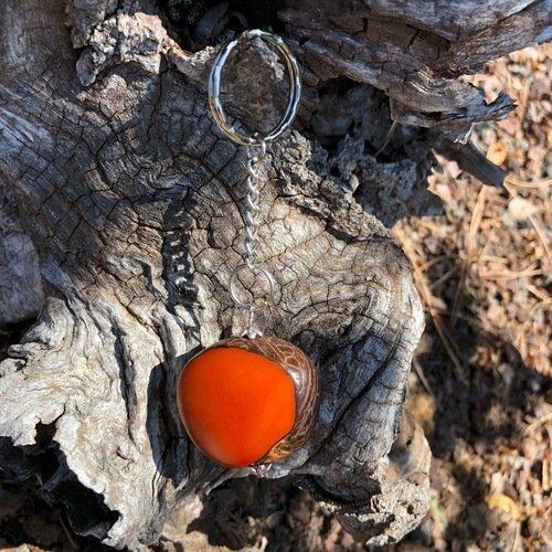 Porte-clés en ivoire végétal orange