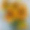 """Chaleur d'eté : peinture florale """"tournesols"""" huile au couteau..."""