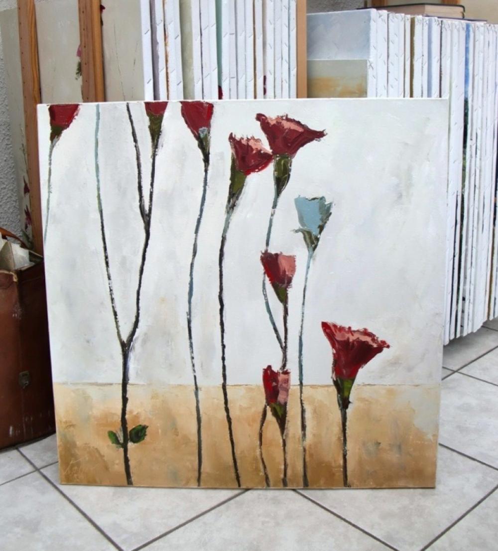"""Cordes Sensibles : Peinture florale """"oeillets"""" huile au couteau sur châssis et toile de lin"""