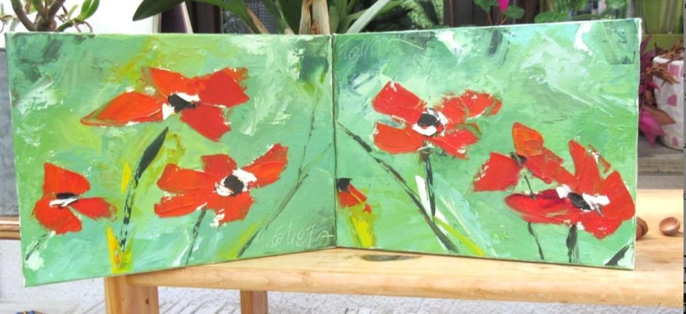 Equilibre I & II : diptyque Peintures figuratives fleurs coquelicots peintures à l'huile au couteau sur toile
