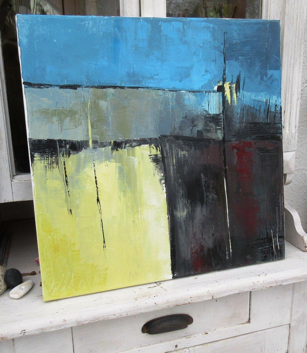 Couleurs Du Vent : peinture abstrait lyrique -huile au couteau sur toile de lin ..... abstrait de racines