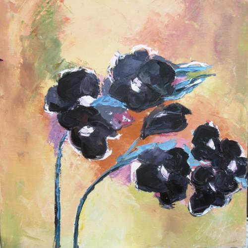 """Légèreté : peinture florale """"fleurs des champs"""" huile au couteau sur toile de lin sur châssis ..."""