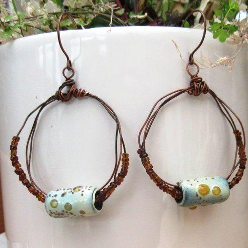 Vendu-   echos de songe : boucles d'oreille de style créoles avec perles en émail artisanal ...