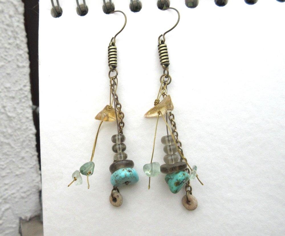 Des Perles Du Soleil : boucles d'oreille pétillantes , porteuses de bonnes ondes avec citrine et aigue-marine