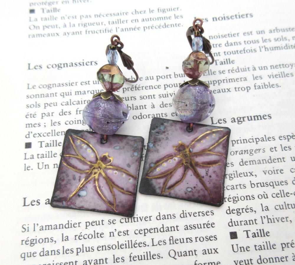 Des Rires De Libellules : Des boucles d'oreille esprit natures avec émail artisanal et lampworks Murano d'artiste