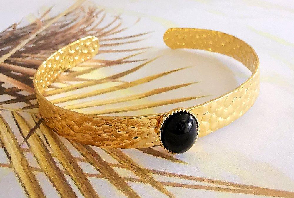 Ensemble de bracelets plaqué or, gold filled et perles Miyuki, couleur noir et or