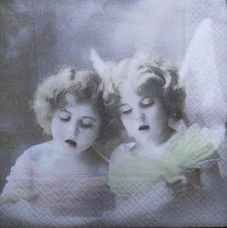 1 serviette en papier ange vintage nostalgie
