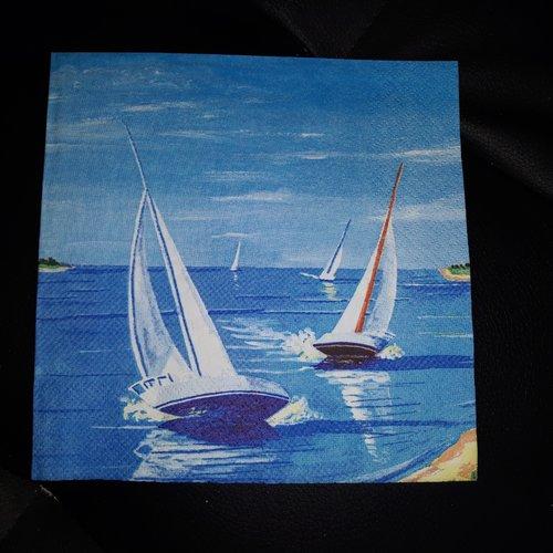 Belle serviette en papier  paysage de bord de mer