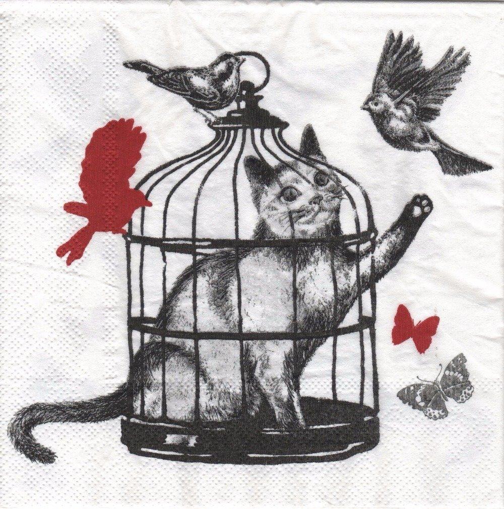 """Serviette en papier """"Chat enfermé dans une cage"""""""