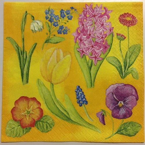 Serviette en papier «fleurs variées sur fond jaune»