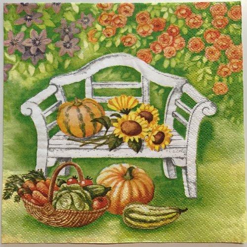 """Serviette en papier """"l'automne au jardin"""""""