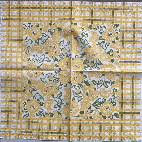 """Serviette en papier """"fleurs jaunes"""""""