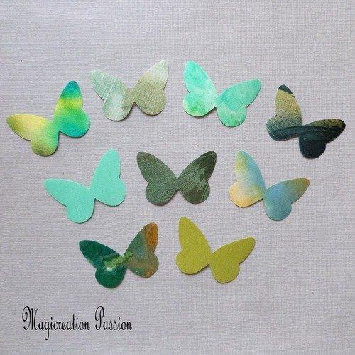 Ailes papillons soie autocollants 5 cm harmonie verte, collection apolline