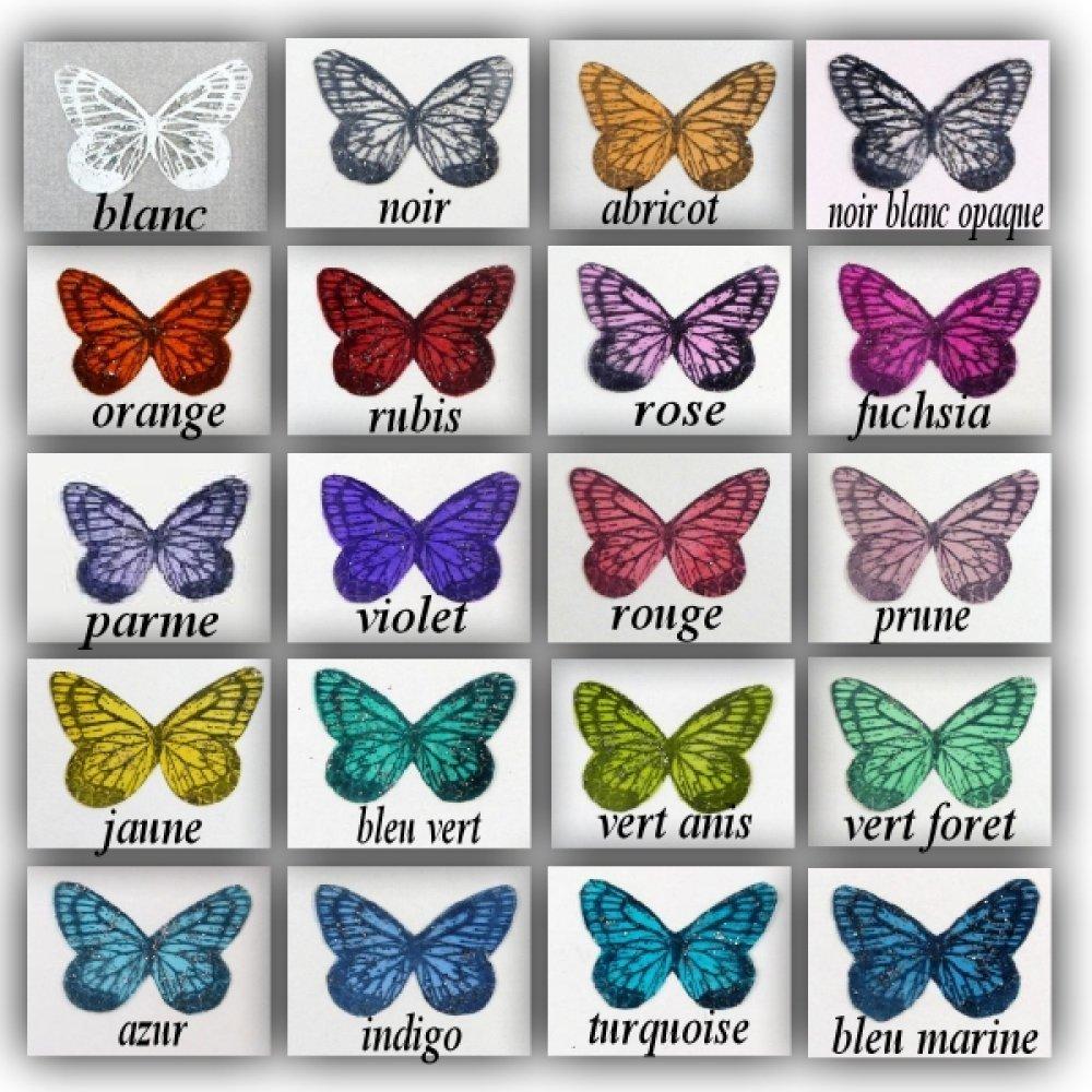 """ailes papillons transparent 3.5 cm blanc ivoire opaque paillettes argentées """"Mia"""""""