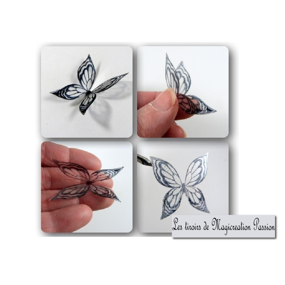 """ailes papillons transparent bleu indigo verni 3.5 cm """"Ysatis"""""""